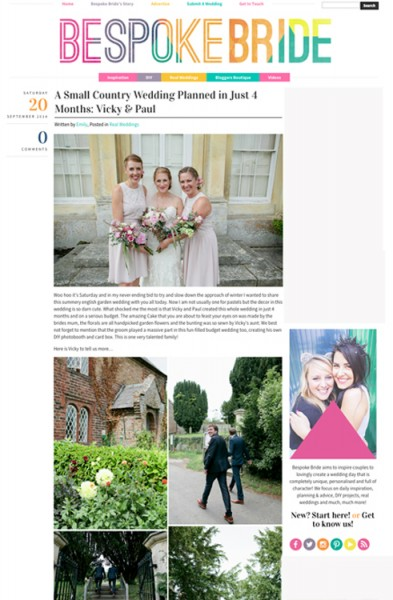 Tear sheet from Bespoke bride wedding blog which shows a country wedding at Goodnestone Park Gardens Kent wedding