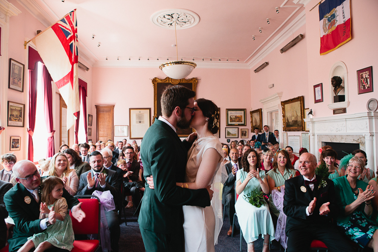 The first kiss- Hythe town hall wedding in Kent