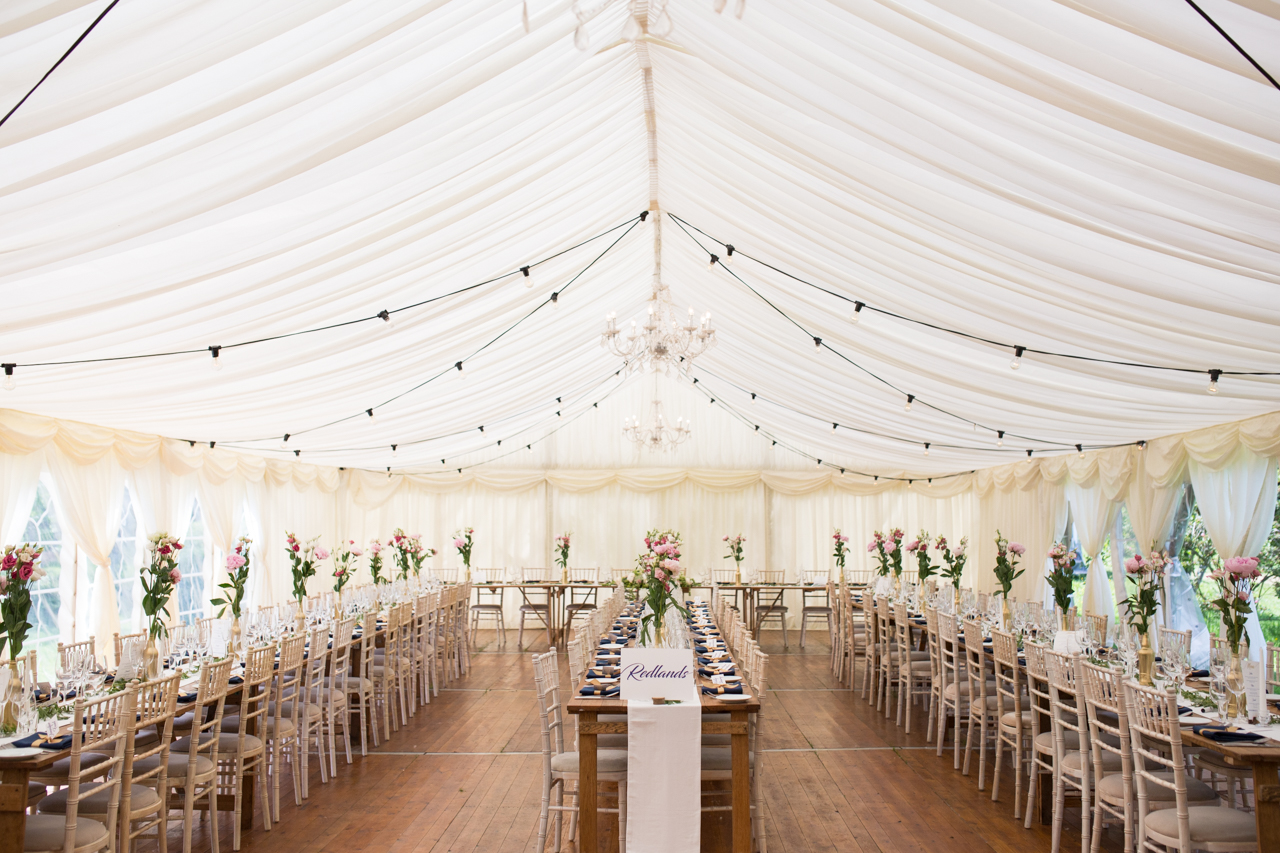 The inside of wedding marquee at Sprivers Mansion -Kent documentary wedding photography