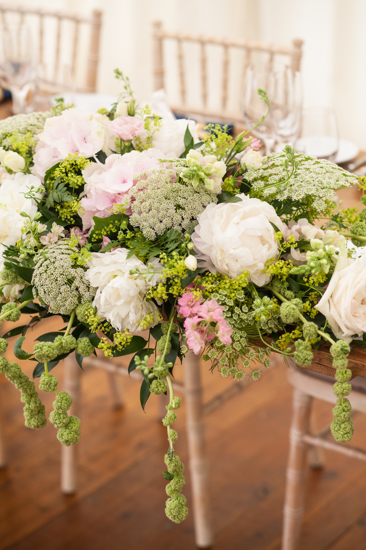 Pretty wedding details and flowers in a marquee wedding in Kent