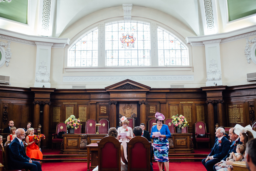 Speeches during the ceremony at Islington Town Hall