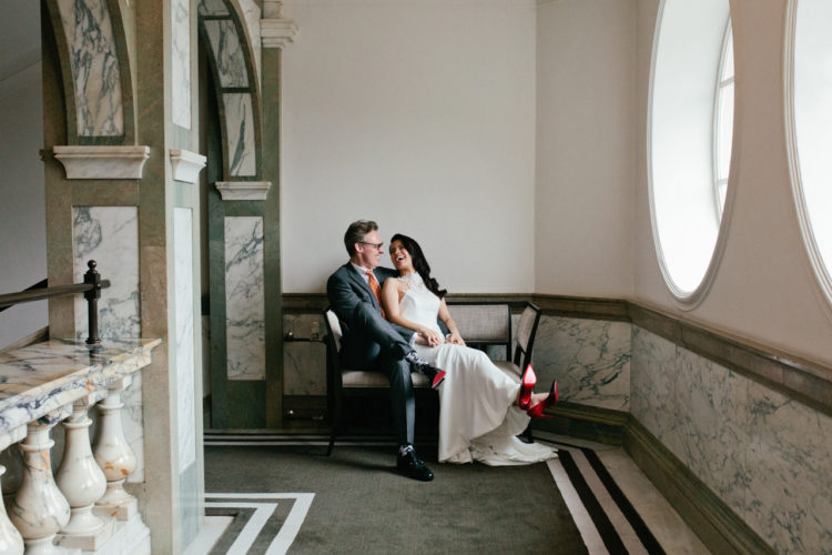 A portrait of a bride and groom at their Rosewood hotel wedding in London by Kent and London alternative wedding photographer Matilda Delves