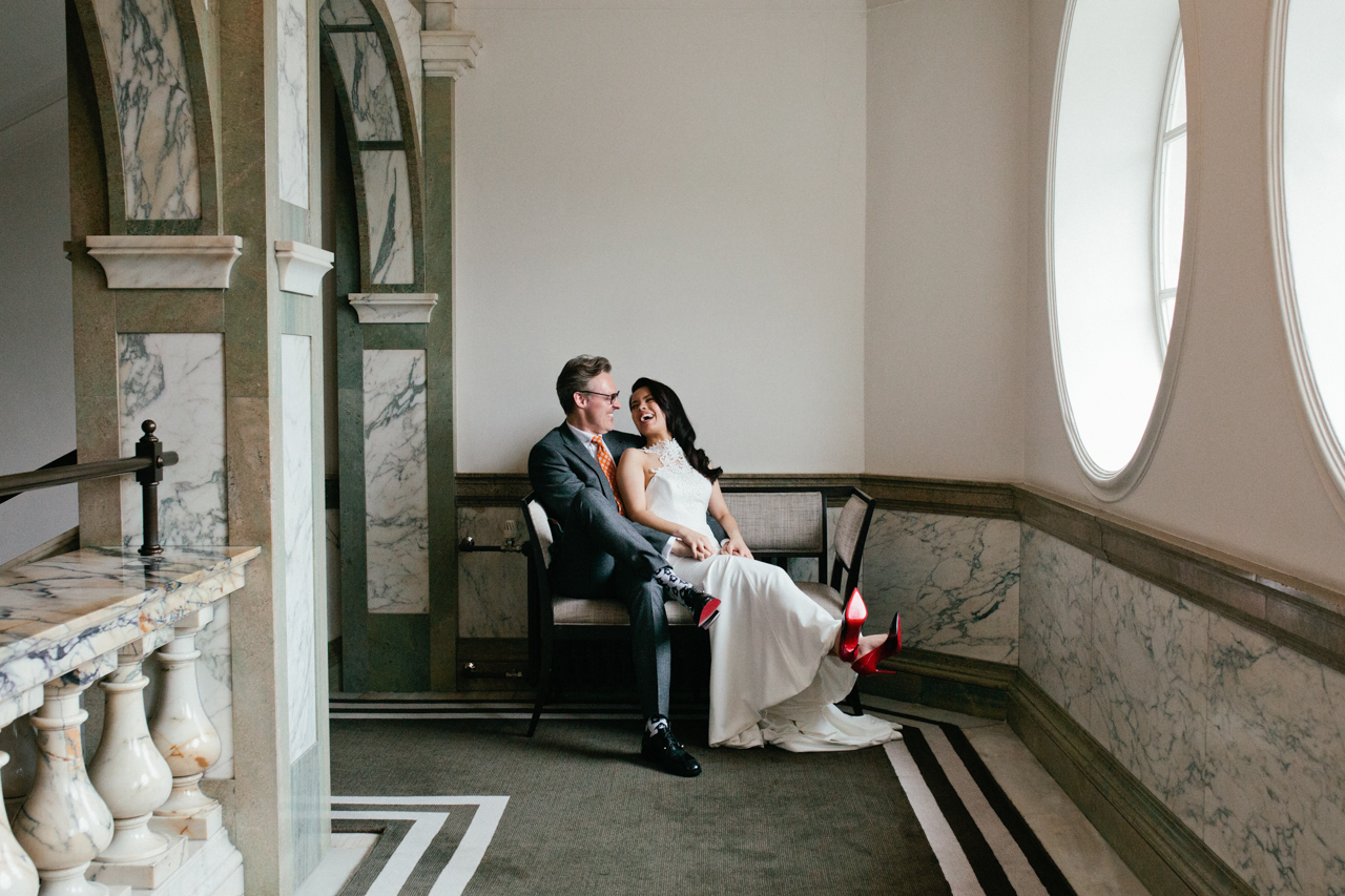 KENT and London alternative wedding - photographer Matilda Delves . A portrait of a bride and groom in The RoseWood Hotel London-1_websize