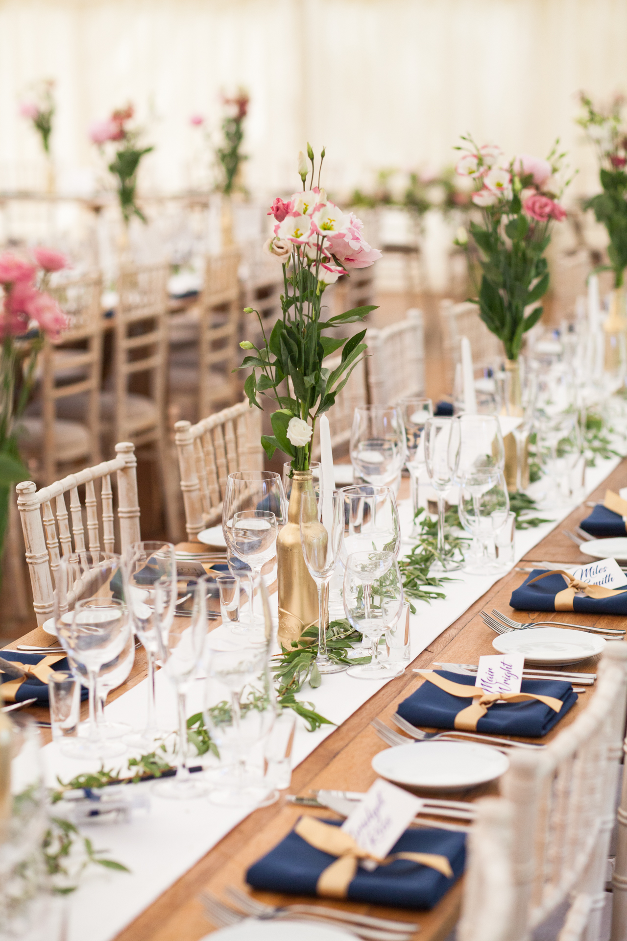 Pretty table setting for a marquee wedding in Kent