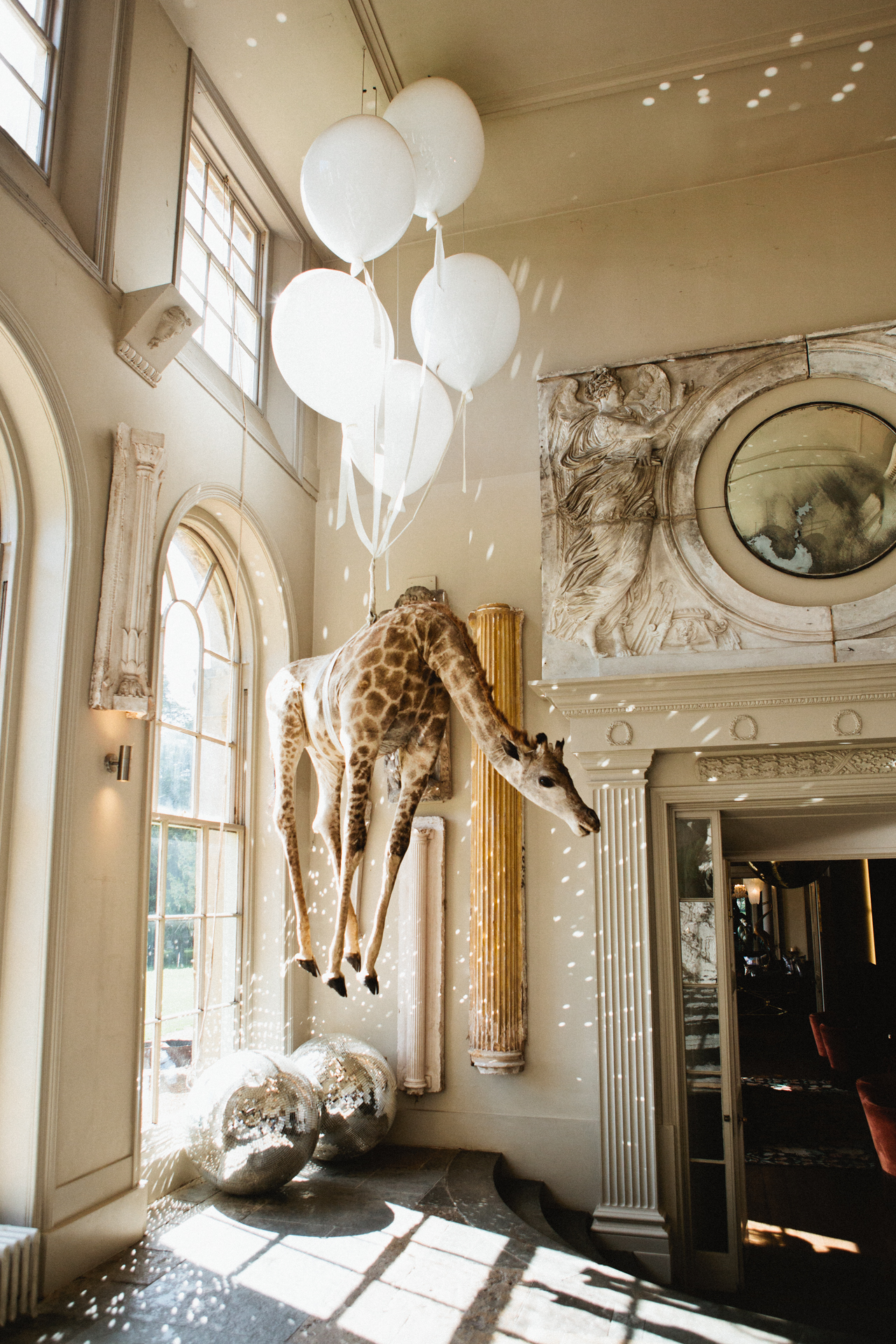 A full size taxidermy giraffe hanging up from the ceiling at Aynhoe Park wedding venue