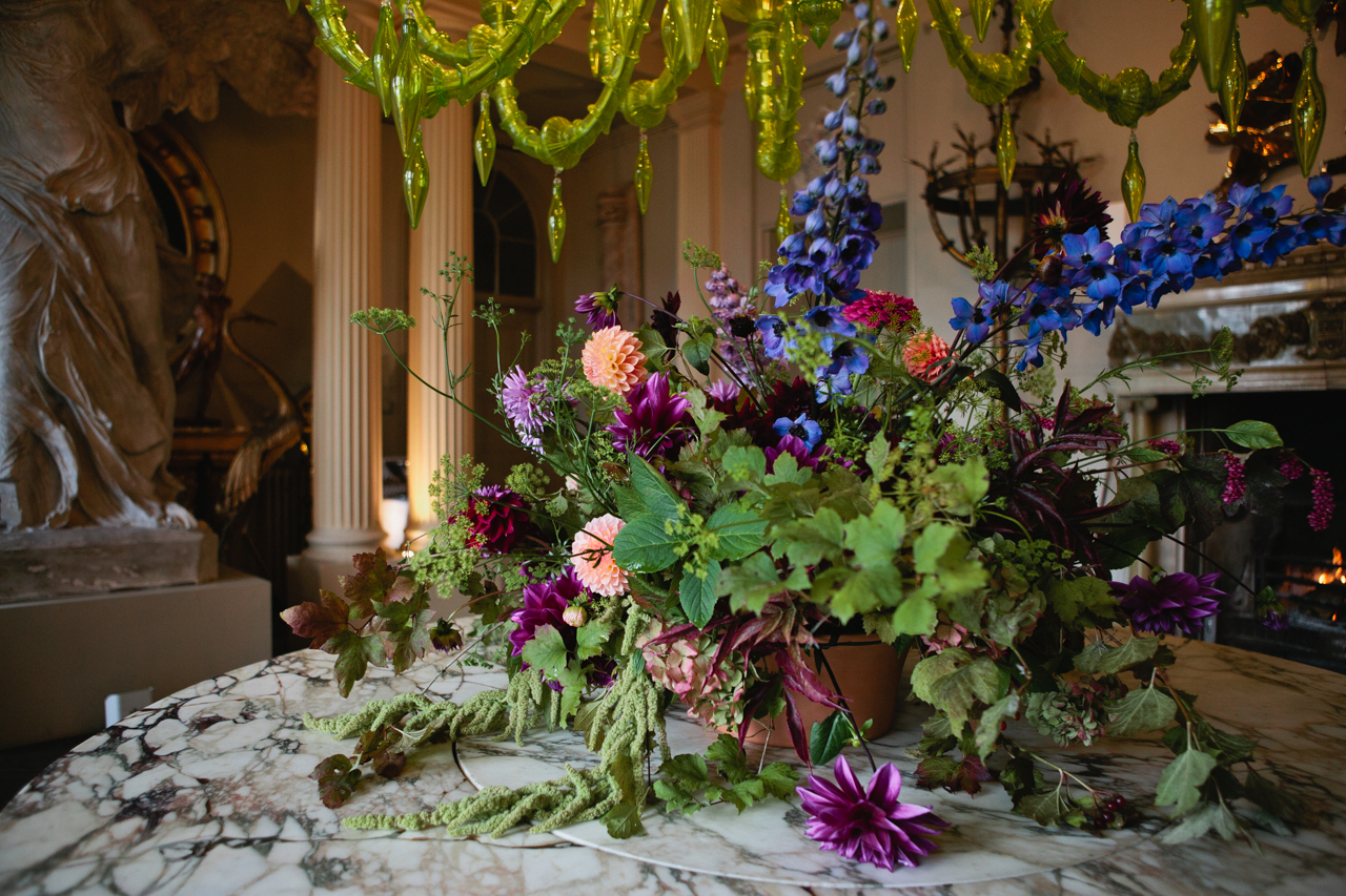 A wild and beautiful display of flowers at Aynhoe Park wedding venue