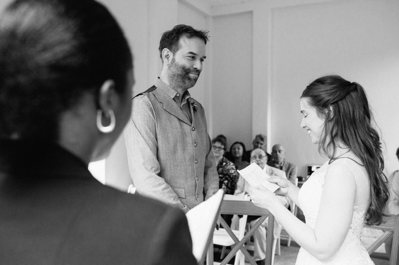 A black and white portrait of a bride and groom at The Hill Top Gardens and Pergola Wedding on Londons Hampstead Heath - Kent documentary wedding photography