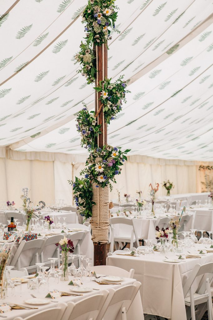 A photograph by a Kent Marquee Wedding Photographer of a House of Hud canvas tent set up with pretty flowers photographed by natural style Kent Wedding Photographer Matilda Delves