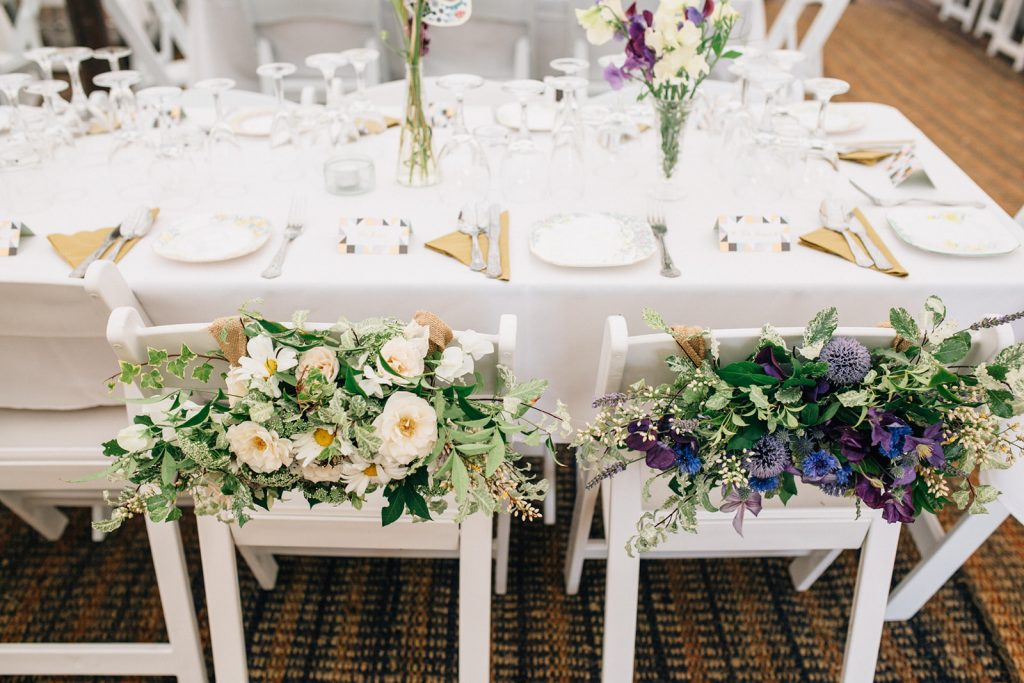 British flowers beautifully decorate a marquee wedding by Kent Marquee Weddings Photographer Matilda Delves