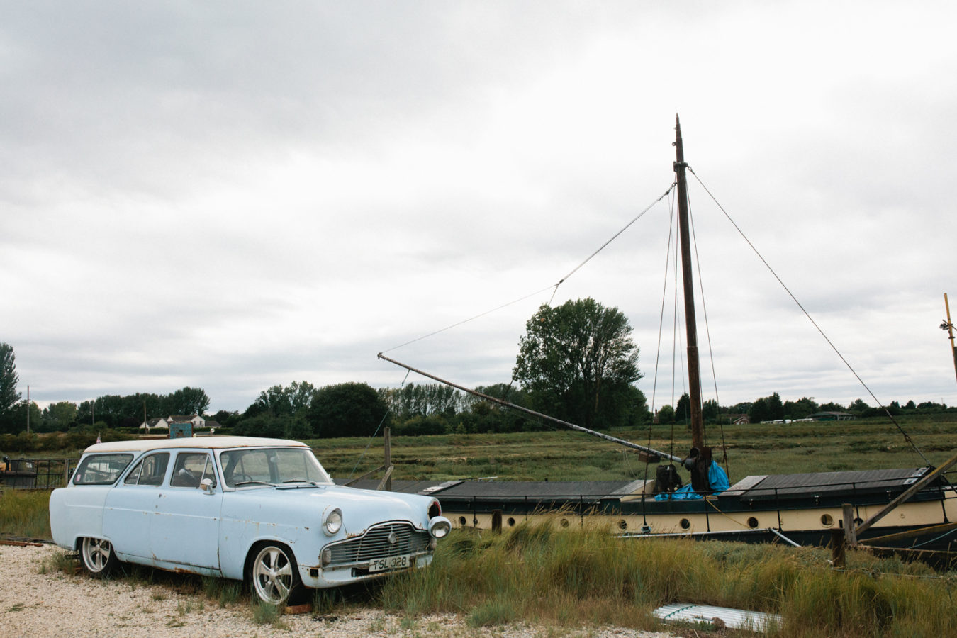 An old thames barge boat at the Oak Grove wedding venue in North Kent