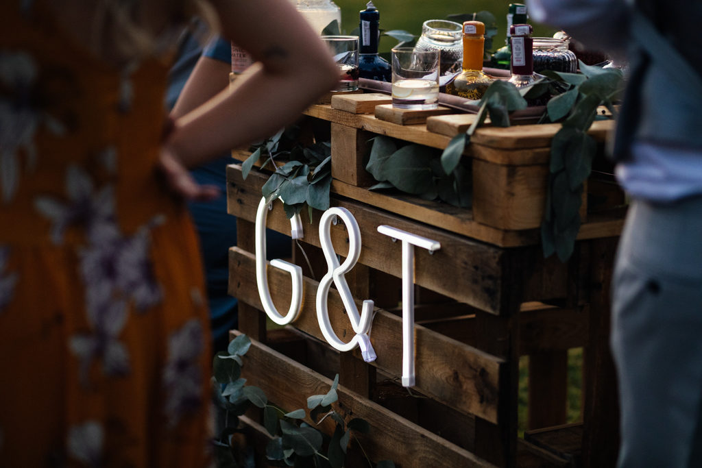 A home made gin and tonic bar at a Barn wedding in Kent