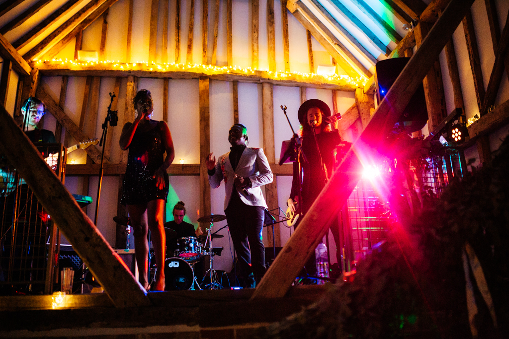A wedding band at The Oak Barn In Benenden