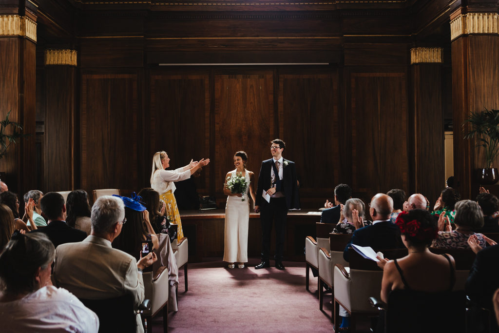 A bride and groom during their Stoke Newington Town Hall Wedding